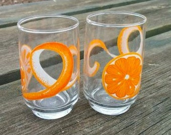 Vintage Antique Small Orange Drinking Glasses