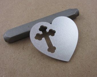 "1 1/4"" Heart with Cross Cutout Aluminum Stamping Blanks, 14 Ga Thick, 1100 Aluminum, 10 pcs"
