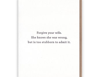Forgive Your Wife Card // Letterpress