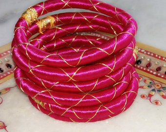 6 solid fuchsia silk thread wrap bracelet bangle india