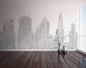 Manhattan skyline, New York City, NYC -- Custom Printed Wall Mural, Wallpaper, peel & stick vinyl wall covering.