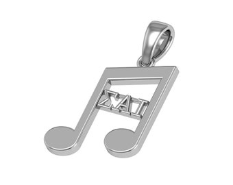 Sigma Alpha Iota Necklace -  Music Note Design, Sterling Silver (SAI-P001)