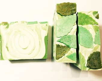 Eucalyptus Mint Soap, Mint Soap, Cold Process Soap, Green Soap, Leaf Soap, Eucalyptus Soap, Homemade Soap, Handmade Soap, Summer Soap
