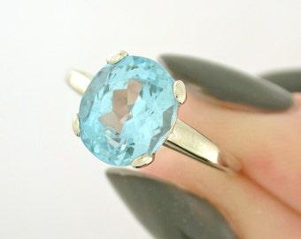 Aquamarine - March Birthstone - 14k white gold ring