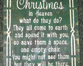 Christmas in Heaven......Primitive/ wall decor/ Family/ shabby chic/ Memorial/ christmas/ loved ones/