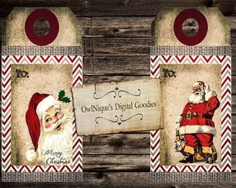 Six Vintage Christmas tags, Digital Download, Christmas tags, Vintage Christmas, Christmas Gift Tag, Gift Tags, Santa Tags, Santa Gift Tags