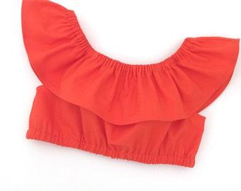 Toddler crop top, off the shoulder, ruffle crop top, ruffle top, toddler ruffle top, girl crop top, girl ruffle crop top
