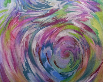 Colourful Vibrant Swirl Painting on Canvas