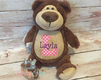 Personalized Stuffed Animal Brown Bear Monogrammed, Baby cubbie, Baby Shower Gift, Appliqué