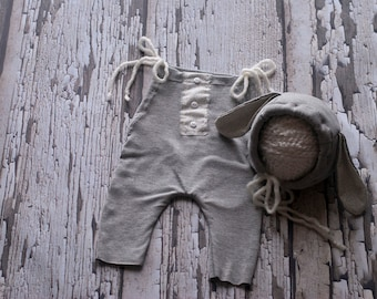 Newborn romper set, Baby romper, Bunny, Bonnet, Vintage,Grey, White, Easter, Baby girl photo prop, Neutral, 3 piece set, Bonnet set