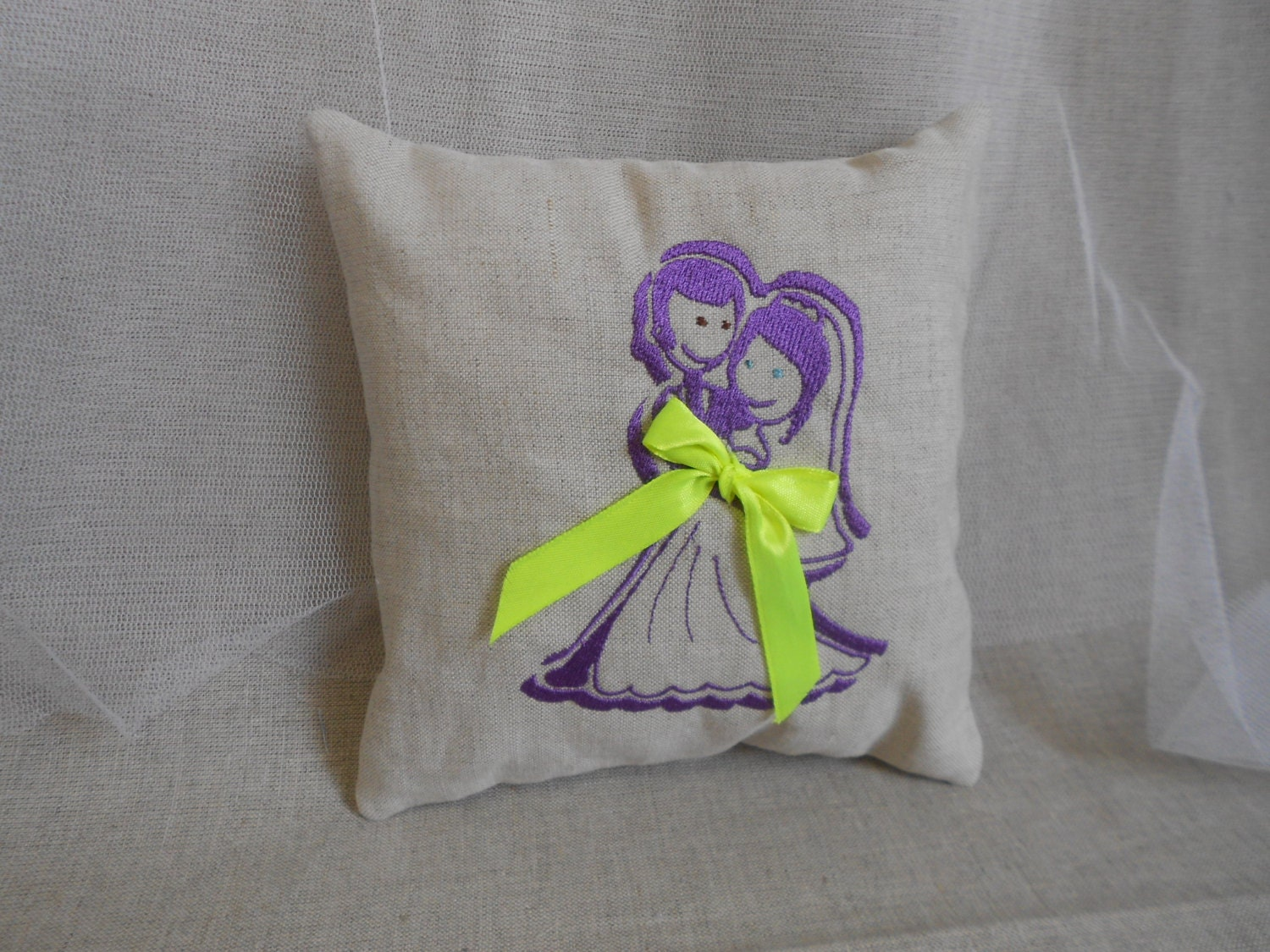 Wedding ring bearer pillow embroidered cushion