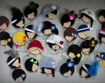 Brooches Pins Charleston dolls fashion chic