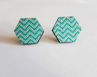 Hexagonal wooden blue stud earrings.