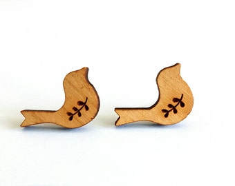 Wooden bird stud earrings.
