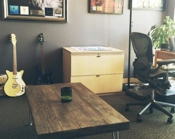 Reclaimed wood coffee tables with hairpin legs