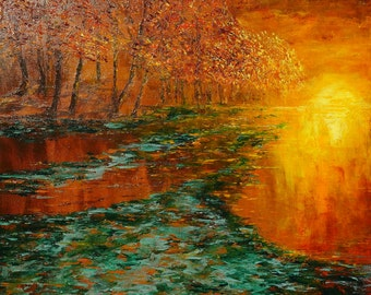 ORIGINAL ART Modern Painting Palette Knife Textured Painting - Summer is leaving by the river