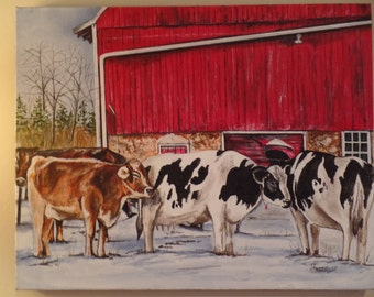 """Original """"Morning Gathering"""" Unframed Acrylic Painting on a Stretched Gallery Canvas. #16-053"""