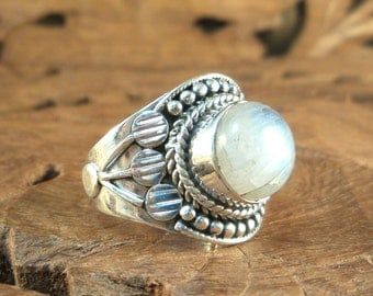 Sterling Moonstone Ring Rainbow Moonstone & Highly textured Sterling Silver Women's Ring, size 6