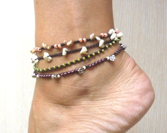 Crochet Beaded Anklet, Beaded Anklet Boho Chic, Crochet Jewelry, 4 Strand Anklets