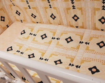 SALE - Cot bedding set - Cot Bumper - Baby bedding set - Peach baby bedding - Swinging crib bedding - Gender neutral baby
