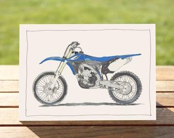"Motorcycle Gift Card blue dirt bike| A6 Measures: 6"" x 4"" / 103mm x 147mm | Motorbike Gift Card"
