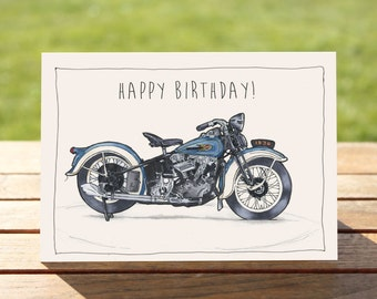 "Motorcycle Birthday Card | Harley Davidson Vintage Knucklehead | A6 - 6"" x 4"" / 103mm x 147mm 