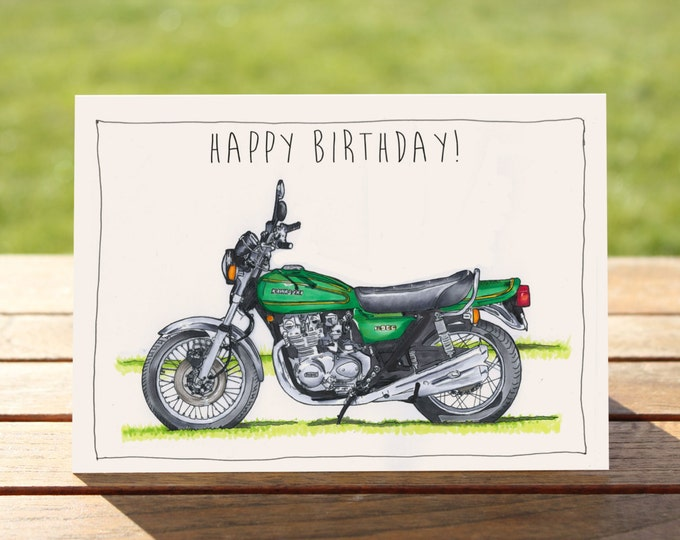 "Motorcycle Birthday Card - Vintage Kawaski Z900 | A6 - 6"" x 4"" / 103mm x 147mm 