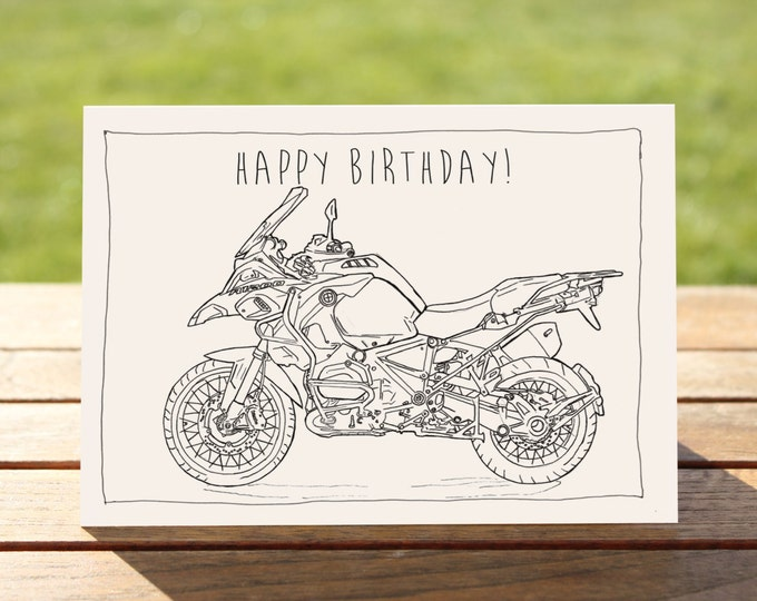 "Motorcycle Birthday Card BMW R1200GS | A6 - 6"" x 4"" / 103mm x 147mm 