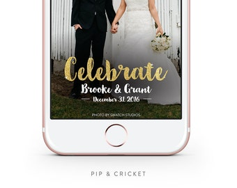 Personalized Wedding Snapchat GeoFilter: Celebrate with Sparkle