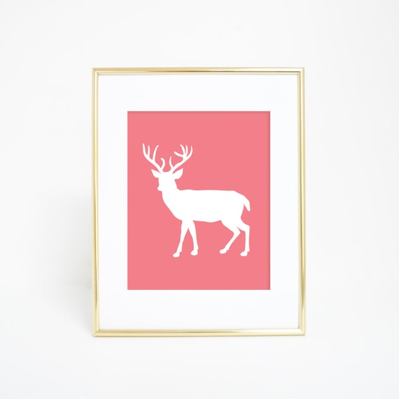 Deer Printables, Coral Art Print, Home Decor, Deer Prints, Deer Art, Pink Deer, Deer Wall Print, Deer Wall Art, Home Decor, Nursery Print