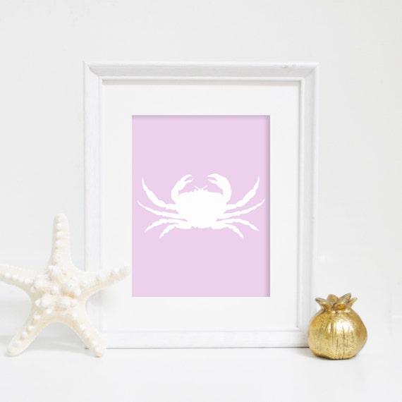 Lavender Crab Print, Crab Wall Art, Wall Decor, Coastal Decor, Digital Print, Nautical Art, Beach Prints, Nursery Prints, Purple Print