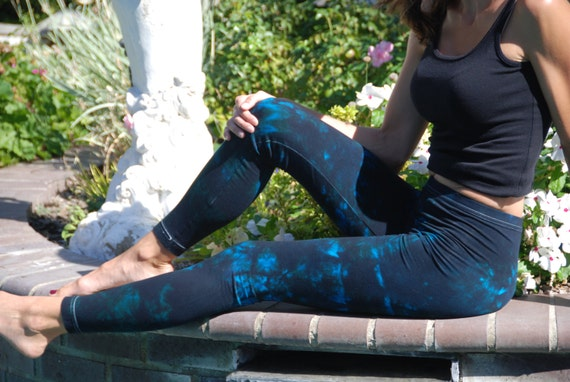 Tall Twilight Turquoise Tie Dye Yoga Leggings including Extra Long and Plus Size by Splash Dye Activewear