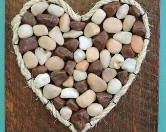 Pebble Art, Stone Art, Shell Art - Heart on reclaimed wood 10 X 8.5