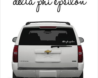 Delta Phi Epsilon // D Phi E // Sorority Vinyl Car Window Decal (cursive) // Laptop Sticker // Greek Letters Sticker Decal