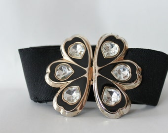 Stretch black Vintage belt with flower