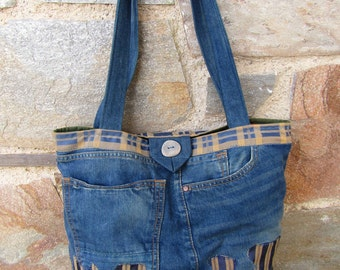 Upcycled jean and fabric tote bag