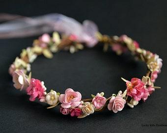 Bridal crown, Floral crown, Wedding flower crown, Flower crown, Pink flower crown, Wedding crown, Floral head wreath, Boho hair accessories