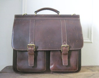 vintage brown leather WILSON attache / briefcase / book bag / crossbody messenger / business bag