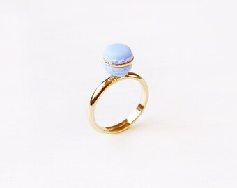 Elfi Handmade Cute Purple Macaron Ring, Miniature Dessert Food Jewelry, Macaron Ring, Cute Ring, Christmas Gift, Best Selling,Lolita, Kawaii