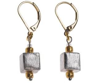 Silver & Gold Cube Earrings