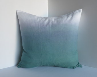 Dip-dyed Canvas Pillow Cover -- Green