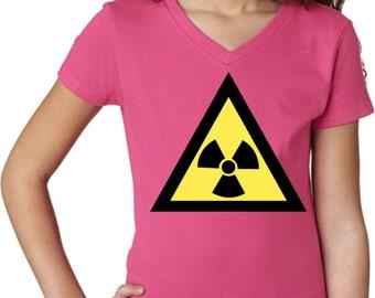 Girl's Funny Shirt Radioactive Triangle Shirt V-neck Tee T-Shirt TRIANGLE -3740