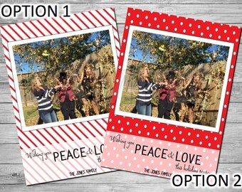 Holiday Photo Card, Christmas Photo Card, Printable Holiday Photo Card, Printable Christmas Photo Card, Peace and Love, Red and White Card