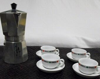A. BiaLetti Crusinallo Moka Express w/ (4) ESpresso cups