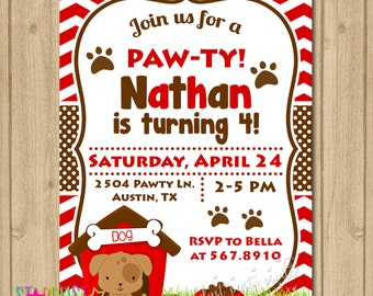 Puppy Party Birthday Invitation, Puppy Invitation, Dog Invitation, Birthday Invitation