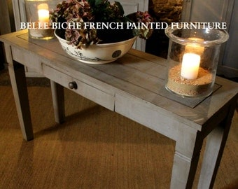 FOR SALE French Grey Rustic Plank Top Console Table