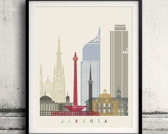 Jakarta skyline poster - Fine Art Print Landmarks skyline Poster Gift Illustration Artistic Colorful Landmarks - SKU 1956