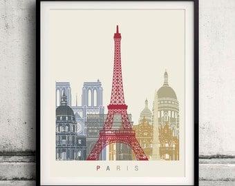 Paris skyline poster 8x10 in. to 12x16 in. Fine Art Print Glicee Poster Gift Illustration Artistic Colorful Landmarks - SKU 1131