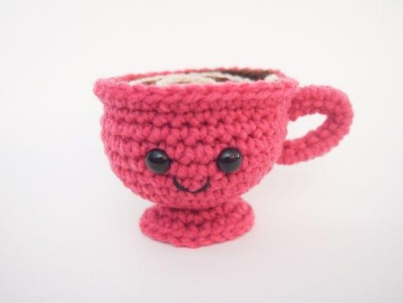 Crochet Tea Cup Coffee Cup Handmade Amigurumi Pink
