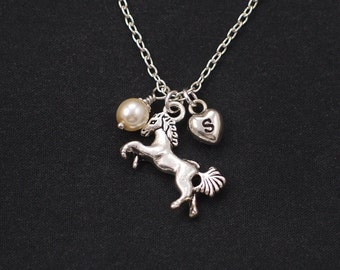 initial necklace, tiny horse necklace, Swarovski pearl choice, long necklace option,silver running horse charm,equestrian jewelry,pony lover